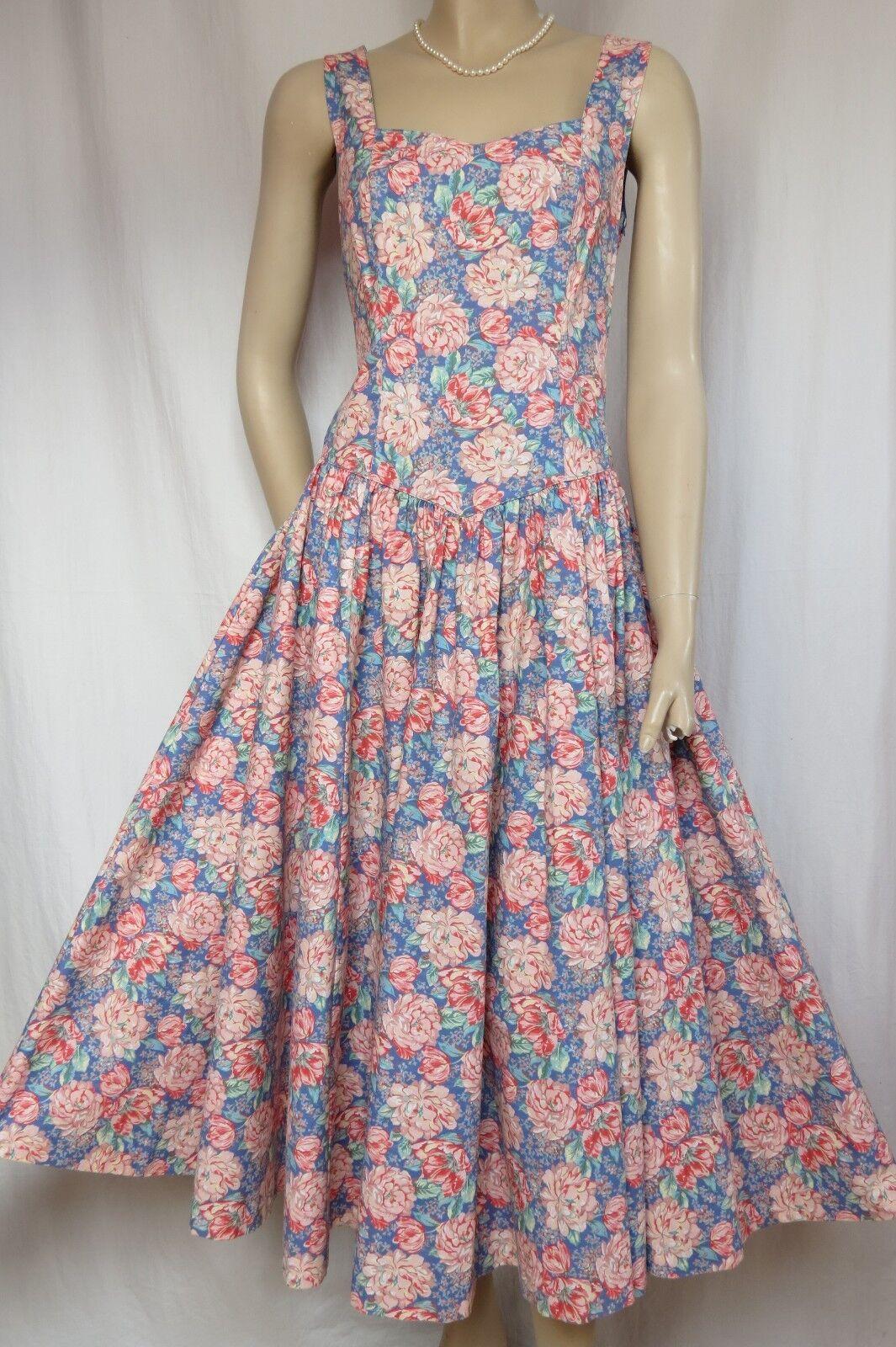 Laura Ashley Sommerkleid 38 Blaumen blau Rosa grün Baumwolle Baumwolle Baumwolle Hochzeit vintage 6eecb5