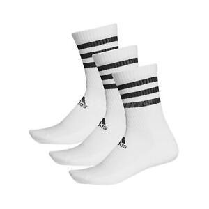 adidas-3-Stripes-Cushioned-Crew-Socks-3-Pairs-Running-Fitness-Gym-White-DZ9346