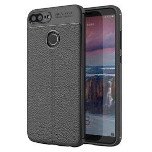 Custodia-per-Huawei-Honor-9-Lite-NERO-Cover-tpu-paraurti-modello-Litchi-pattern