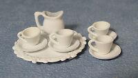 1:12 Scale 10 Piece Metal White Dolls House Miniature Tea Set Accessory 870