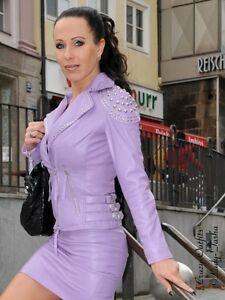 Lederjacke-Leder-Jacke-Helllila-Biker-Style-Nieten-Massanfertigung