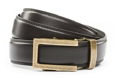 Anson Belt /& Buckle Mens traditional antique gold buckle w// black leather strap