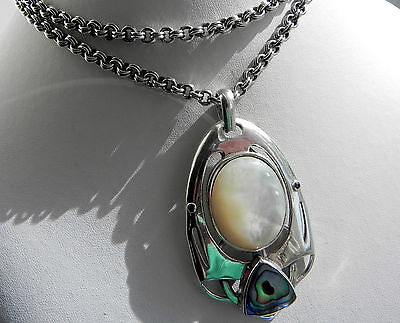 AMAZING! 69g Art Deco style sterling silver 925 mother of pearl pendant necklace