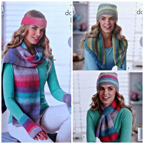 KNITTING PATTERN Ladies Easy Hat Scarf Hat Gloves /&Neck Warmer DK King Cole 4694
