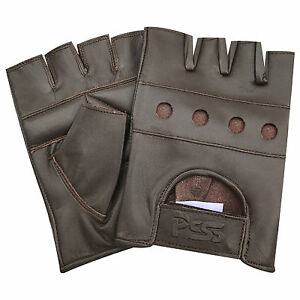 Brown-fingerless-biker-punk-gothic-real-leather-bus-car-driving-cycling-gloves