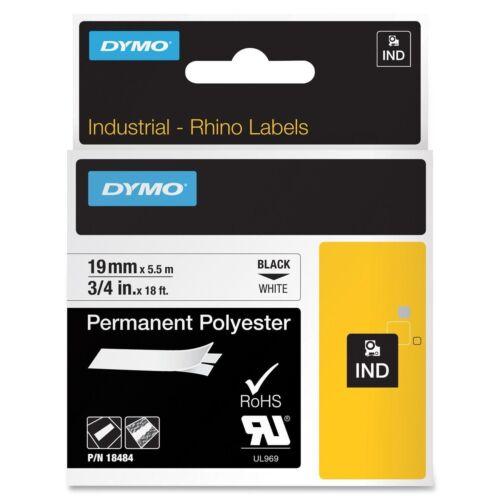"DYMO 18484 RhinoPro Permanent Tape 3//4/"" Blk//Wht Authorized Dymo Dealer"