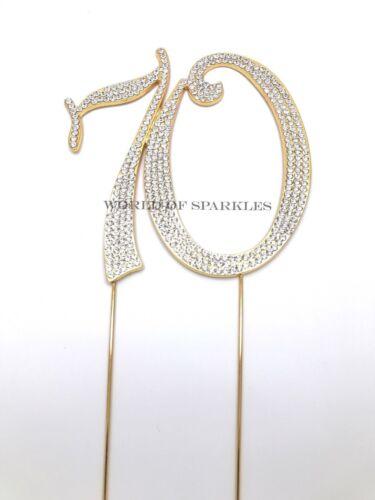 7cm Large Diamante Diamond Gold Rhinestone Number Cake Pick Topper for Birthday