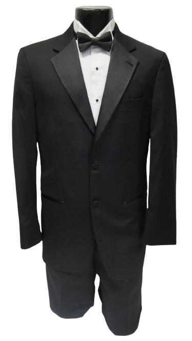 40 XL Complete Basic Black 2 button Notch Tuxedo Coat Pants Vest Tie Shirt links