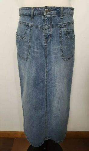 Cato Sz Skirt Studs Jean Pencil Skirt On Women's Denim Pockets Blue 10 Bling XrxPwrq