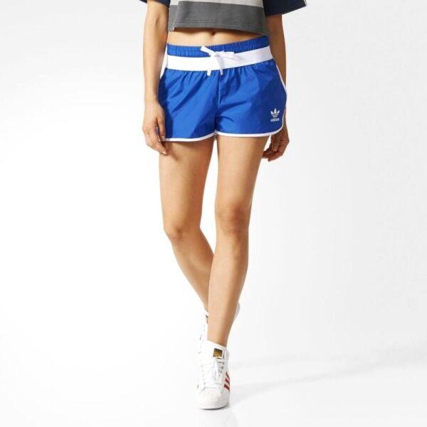 Adidas Trefoil Run Nylon Short Damen Retro Laufhose Sprinter Hose EQT blau/weiß