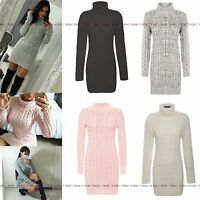 WOMENS LADIES POLO RIBBED KNITTED LONG SLEEVE SHORT MINI JUMPER BODYCON DRESS