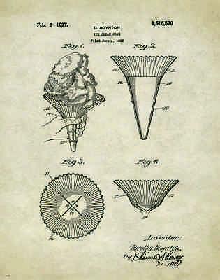 Ice Cream Patent Poster Art Print Museum Vintage Scoops Parlor Cones  PAT193