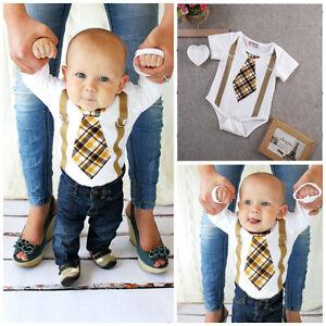 7e896318fd3c Details about Infant Baby Boy Clothes Plaid Tie Suspenders Bodysuit Romper  Jumpsuit Outfits