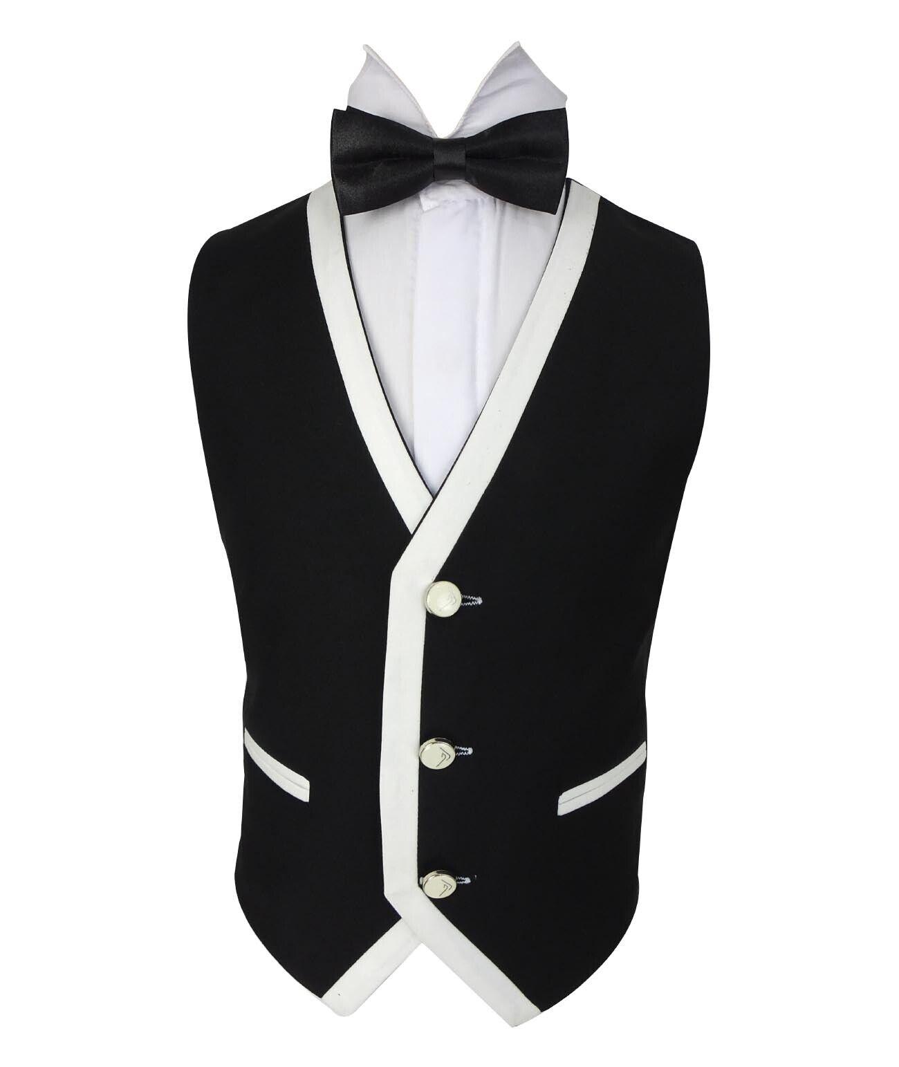 Boys Suit Five Piece Dotted Peak Lapel Suits Shirt Vest Tie