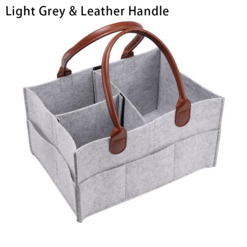 Baby Diaper Organizer Caddy Felt Changing Nappy Kids Storage Carrier Bags Grey