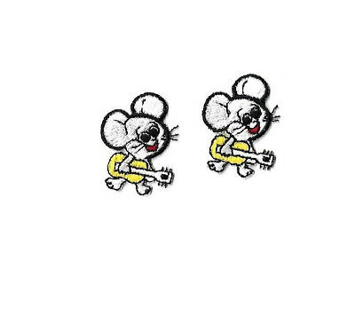 Guitar Mice Embroidered Iron On Patch YW Mouse Music Set Of 2