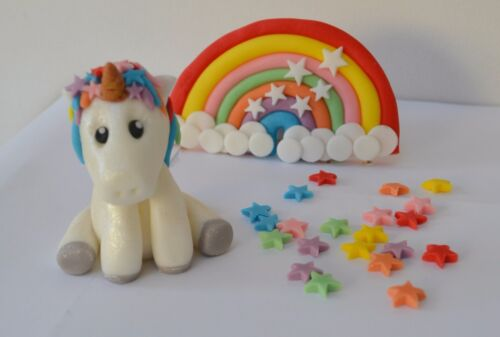 Handmade edible Rainbow Unicorn Themed cake topper set