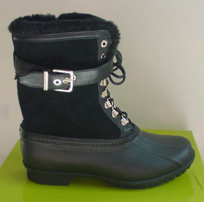 NEW Gianni Binni Ankle Boot Zipper Buckle Black Fur Rubber Snow Womens Sz 7 8