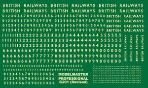 MODELMASTER G201 BR STEAM LOCO NUMBERING & 'BRITISH RAILWAYS' DECALS / TRANSFERS