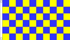 ROYAL BLUE and YELLOW CHECK FLAG 5' x 3' Checkered Team