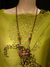 CHINESE LATE QING DYNASTY SILVER CHAIN & PRECIOUS STONES  NECKLACE