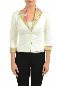 Versace Jeans Couture Women's White 3/4 Sleeve Two Button Blazer US 4 IT 40