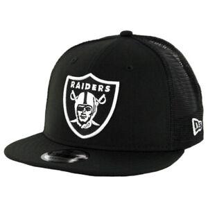 New-Era-950-Oakland-Raiders-034-Trucker-034-Snapback-Hat-Black-White-Men-039-s-NFL-Cap