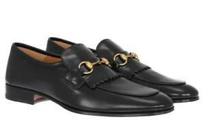 812ff29cfeb Image is loading NEW-GUCCI-QUENTIN-BLACK-LEATHER-HORSEBIT-LOAFERS-DRESS-