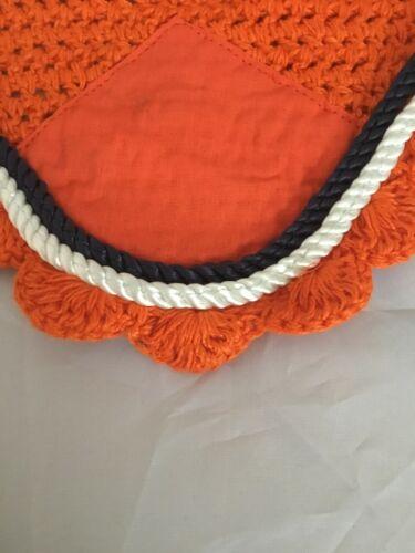 Pony Orange with Navy /& White Rope Trim Cob Full Pinnacle Fly Veil