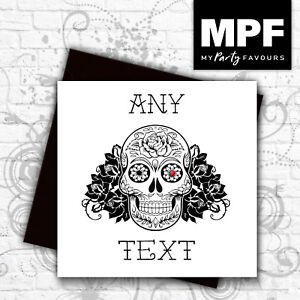 Personalised-039-Sugar-Skull-039-hand-made-tattoo-style-card-Any-text-gem-stone-eye