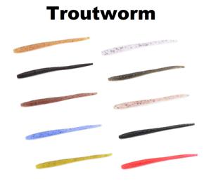 10x Trout Bait Worm 6cm für Forelle 10 Aromen Lieblingsköder Troutworm Area FTM