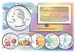 2000-US-Statehood-Quarters-HOLOGRAM-5-Coin-Complete-Set-w-Capsules-amp-COA