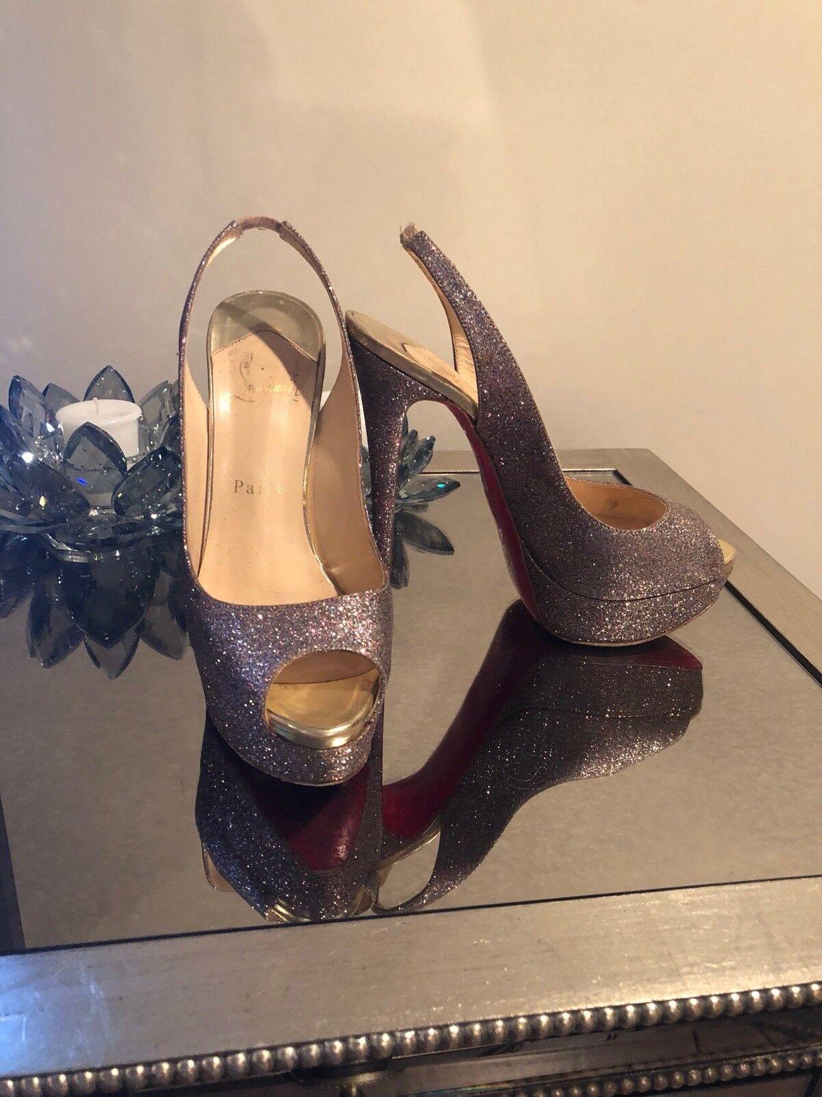 Christian Louboutin  Lady Peep Sling 150 Glitter 38
