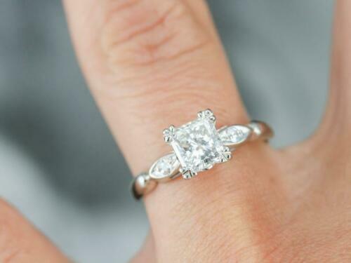 2.50 Ct Princess Cut Diamond Three-Stone Engagement Ring 14K White Gold Over