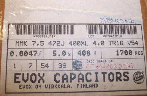 100 4700pf 400V 5/% RADIAL METALLIZED FILM CAPACITORS MMK7.5-472J400 EVOX QTY