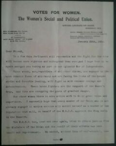 EMMELINE-PANKHURST-LETTER-SUFFRAGETTE-MOVEMENT-29th-JANUARY-1914