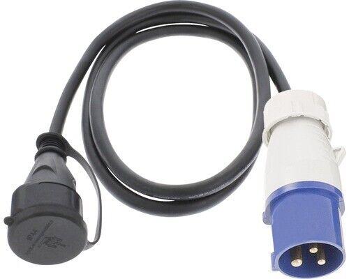 Camping Adapterkabel 1,5m CEE Stecker 3-polig auf Schukokupplung IP44 16A 3500Wa