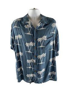 Sgt-Freizeit-Herren-Groesse-XXL-100-Rayon-Classic-Aloha-Hawaii-Shirt-blau
