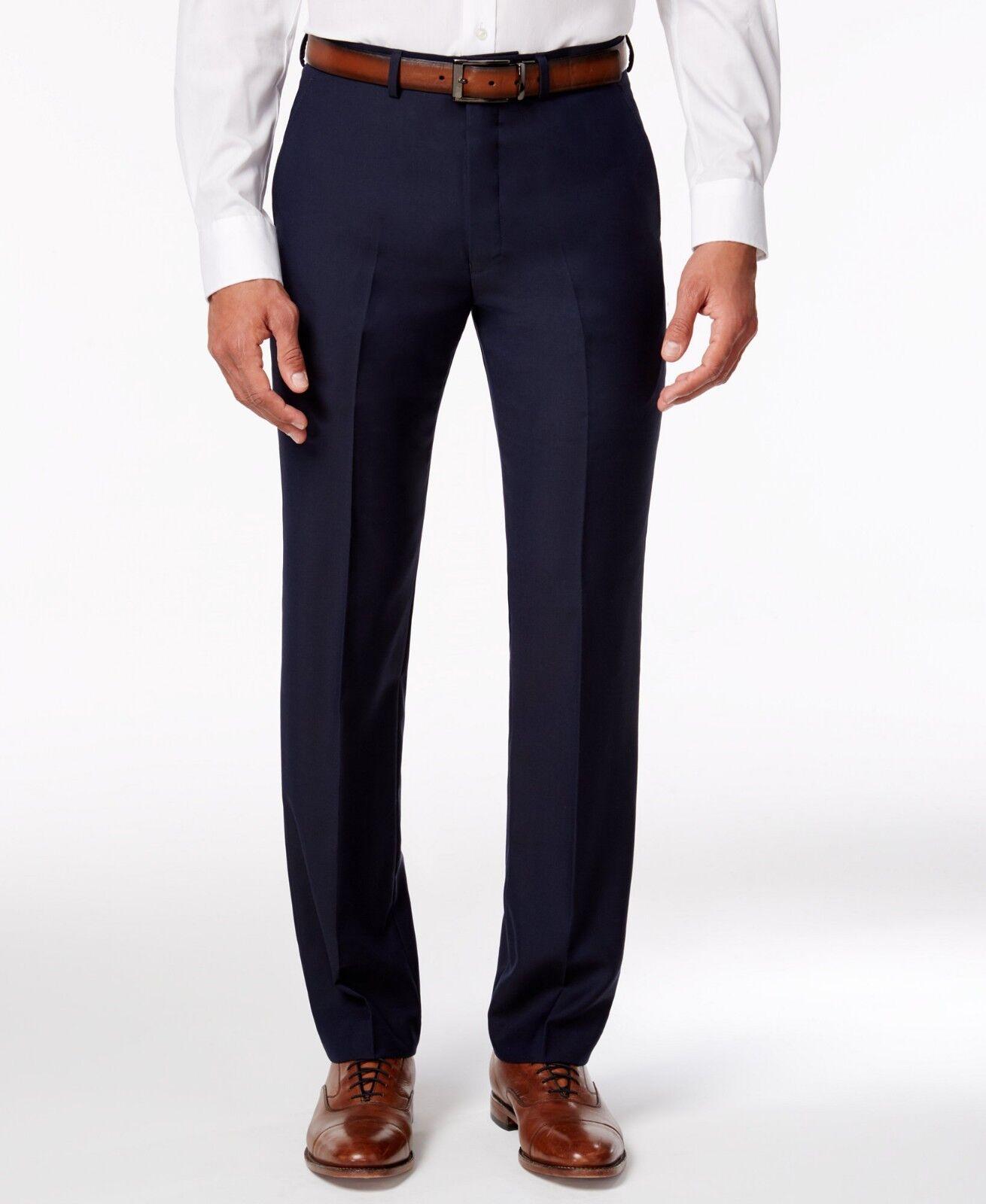 RYAN SEACREST Mens blueE FIT WOOL FLAT FRONT DRESS PANTS TROUSERS 30 W 30 L