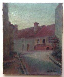 Tableau Ancien Impressionnisme Paysage Village Huile sur toile signé LEO DEVRED