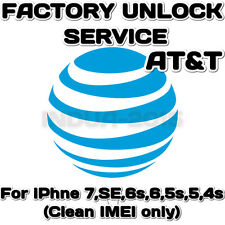 AT&T iPhone Factory Unlock Service ATT 7,SE,6s,6,5s,5,4s,4,3 Clean IMEI only