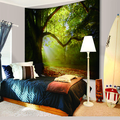Nature Forest Tapestry Wall Hanging Scenery Print Green Office Home Art Decor Ebay