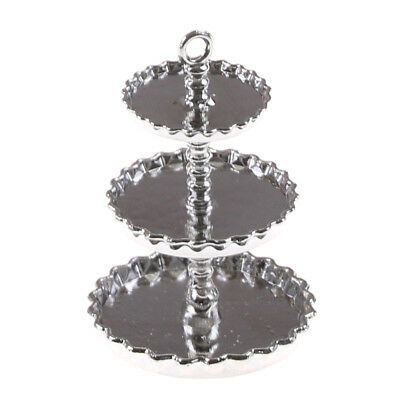 1//12 Dollhouse Miniature 3-Tier lord silver Metal Serving Dessert Plate Stand XS