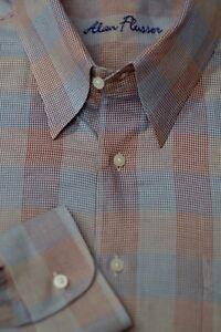 Alan-Flusser-Men-039-s-Red-Gold-amp-Blue-Check-Cotton-Casual-Shirt-XXL-2XL