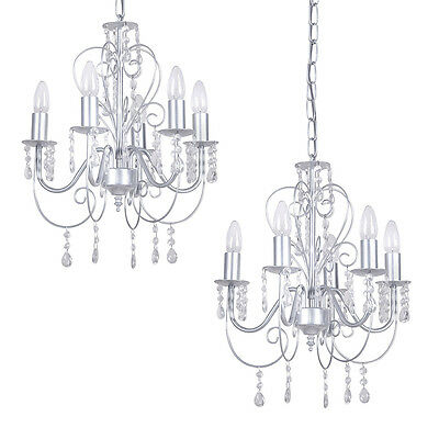 2 x Satin Silver Vintage Style 5 Way Ceiling Pendant Light Jewel Chandeliers
