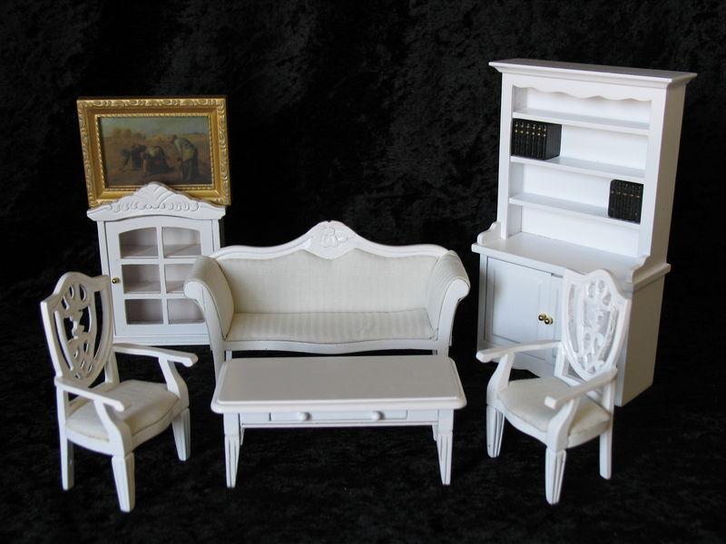Noble salón habitación de trabajo Weiss 7 piezas casa de muñecas muebles miniaturas 1 12