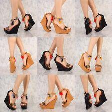 Colorful Gold Dangling Pom Pom Tassel Wedge Platform heels Gladiator Sandal W39