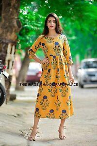 c5d7d303f28 Image is loading Indian-Designer-Cotton-long-kurti-Kurtis-Tunics-for-