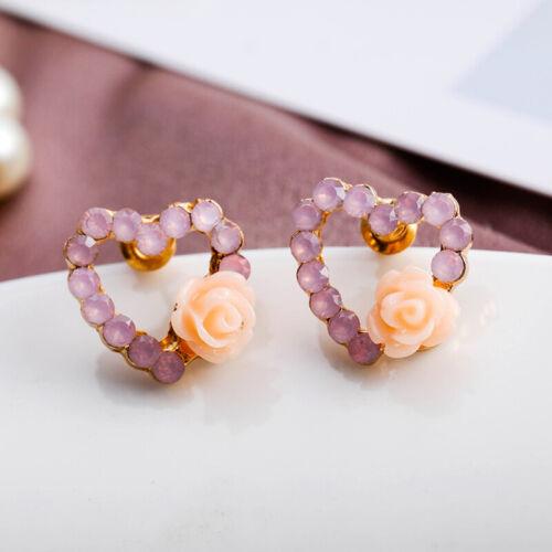 9 Pairs//Set Women/'s Crystal Pearl Flower Ear Studs Earrings Elegant Jewelry NQIO