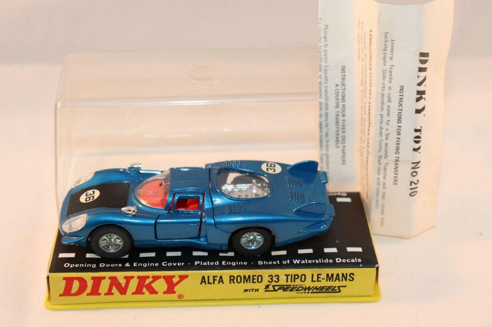 Dinky leksaks 210 Alfa Romeo 33 Tipo Le-Mans blå mycket nära mint i box superb